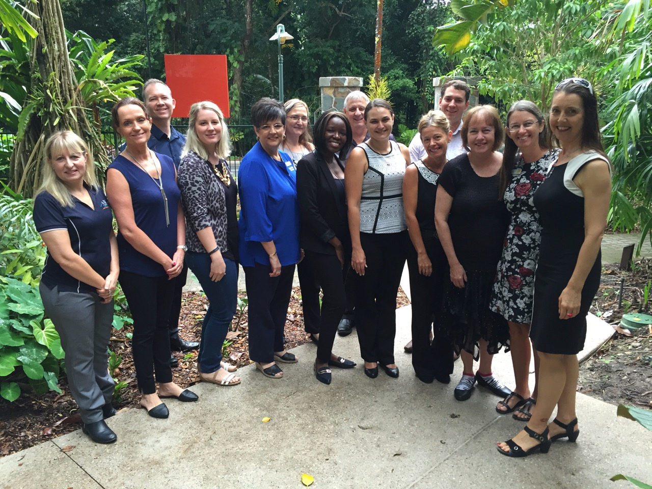 Cairns Disability Network and guests after a breakfast meeting in 2017.
